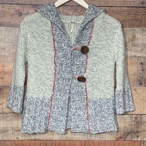 Free People S chunky, grey wood button cardigan